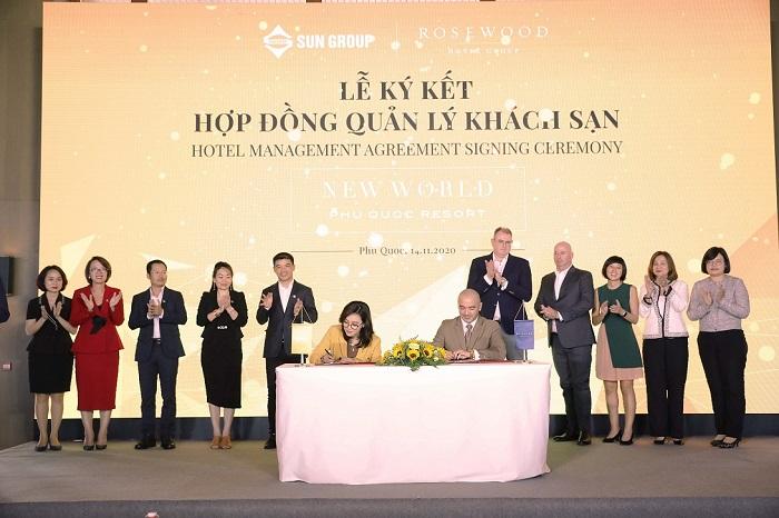Lễ ký kết hợp tác giữa TĐ Sun Group và TĐ Rosewood Hotel Group.