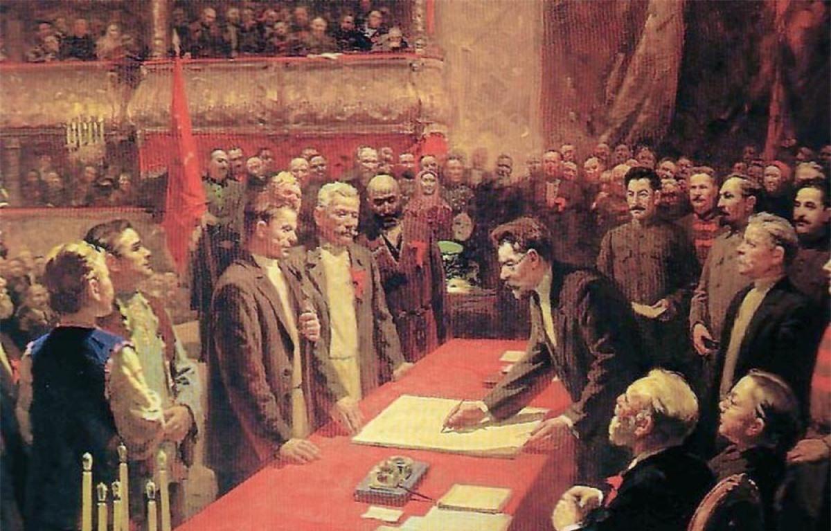 Ký kết Hiệp ước thành lập Liên Xô. Tranh: Stepan Dudnik.
