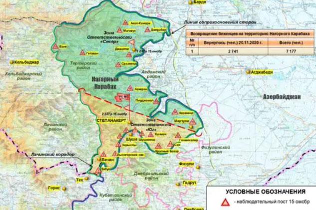 Nga phát hành bản đồ triển khai các lực lượng của vùng Karabakh