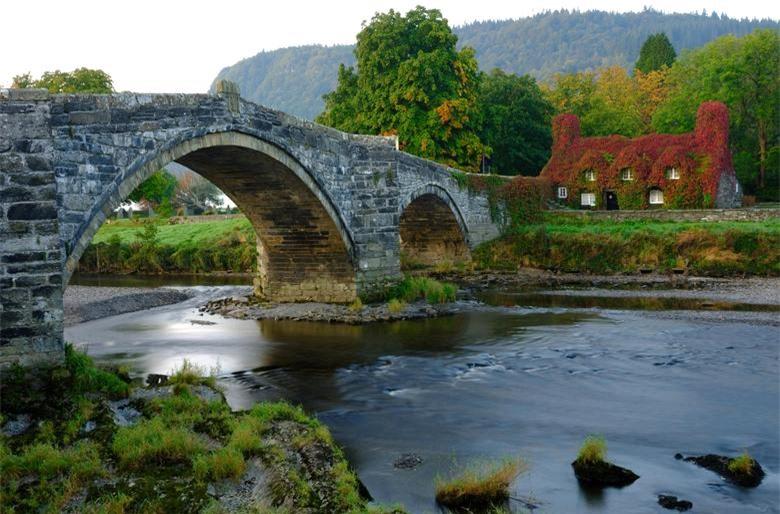 Cây leo Virginia ở bên ngoài phòng trà Tu Hwnt i'r Bont bắt đầu chuyển sang màu đỏ khi mùa thu đến ở Llanrwst, Anh, ngày 21/9.