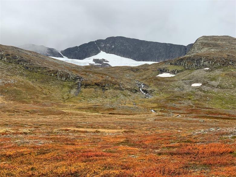 Màu sắc mùa thu được nhìn thấy trên hàng cây ở Dãy núi Scandinavian ở vùng Jamtland Harjedalen của Thụy Điển, trên sườn núi Helags (Maajaelkie trong ngôn ngữ Sami bản địa), đỉnh núi cao nhất của Thụy Điển ở phía nam của vòng Bắc Cực với sông băng ở cực nam của đất nước, ngày 22/9.