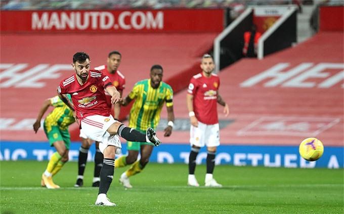 M.U giành chiến thắng tối thiểu trước West Brom nhờ pha lập công trên chấm 11m của Bruno Fernandes