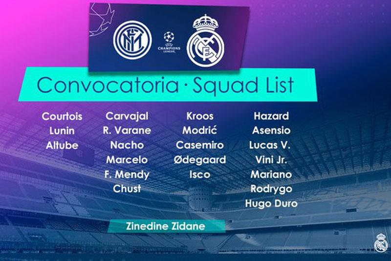 Danh sách các cầu thủ Real dự trận gặp Inter.