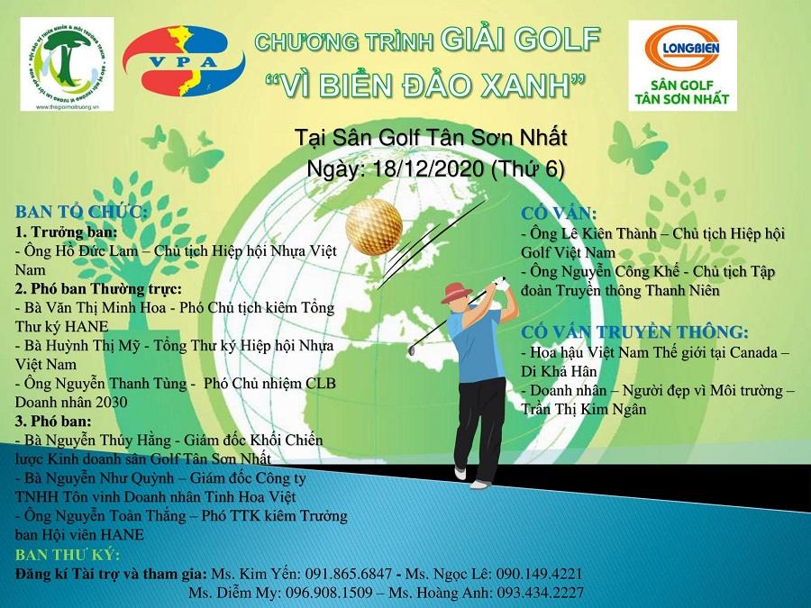 """giải Golf """"Vì Biển đảo Xanh"""" được tổ chức, nhằm mục đích vận động các doanh nghiệp, doanh nhân, golfer tham gia và cùng chung tay ủng hộ chương trình """"Vì Biển đảo xanh Tổ quốc""""."""