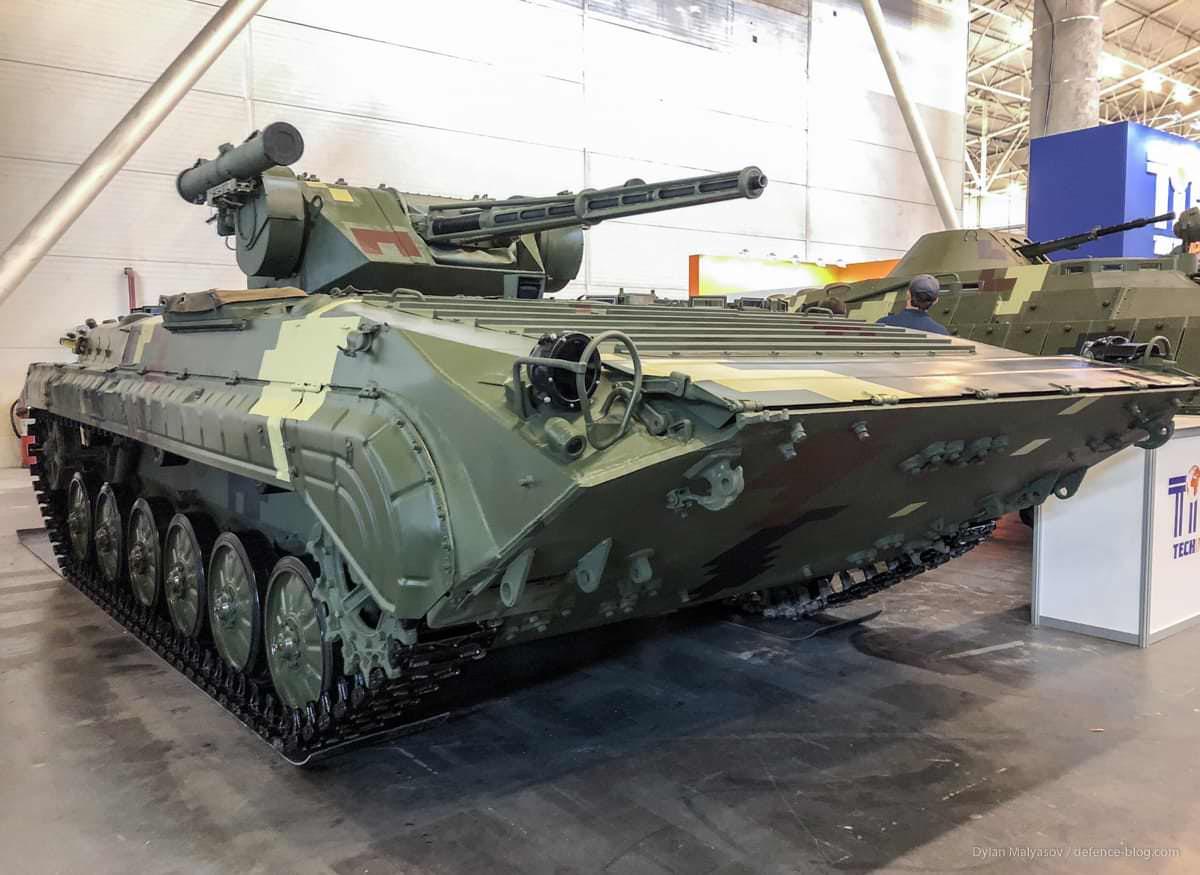 Xe chiến đấu bộ binh BMP-1 do Ukraine nâng cấp, dễ nhận thấy sự xuất hiện của module vũ khí mới. Ảnh: Defense Express.