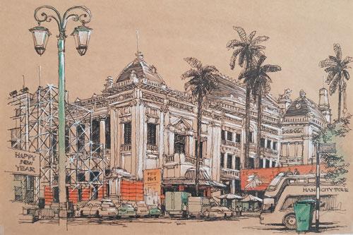 Nhà hát Lớn Hà Nội (số 1 Tràng Tiền): Năm 1899, Hội đồng thành phố Hà Nội đệ trình xây dựng một nhà hát nhằm phục vụ nhu cầu giải trí của người Pháp tại Hà Nội. Công trình khởi công ngày 7/6/1901 và hoàn thành vào năm 1911, do hai kiến trúc sư là Harlay và Broyer thiết kế, trong quá trình thi công có sự tham gia của kiến trúc sư Lagisquet. Đây là công trình biểu diễn lớn nhất khu vực Đông Nam Á lúc bấy giờ và sau này luôn là trung tâm biểu diễn và văn hóa. Không chỉ còn có giá trị về mặt thẩm mỹ và kiến trúc, nó còn giá trị lịch sử đối với nhà nước Việt Nam vì đây là nơi diễn ra cuộc họp đầu tiên của Quốc hội nhà nước Việt Nam Dân chủ Cộng hòa. Tranh: Phạm Anh Quân.
