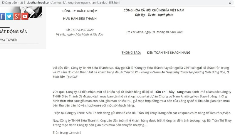 Thông báo của trang web được của Công ty Siêu Thành cho rằng bà Trần Thị Thùy Trang đã mạo danh phó giám đốc công ty để giao dịch mua bán.