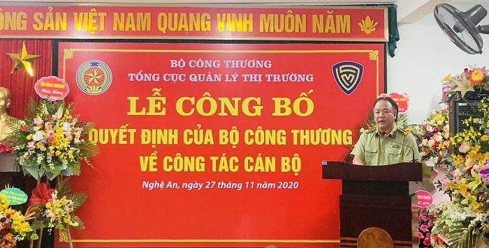 Đồng chí Trần Hữu Linh- Tổng Cục trưởng Tổng Cục Quản lý thị trường phát biểu giao nhiệm vụ.