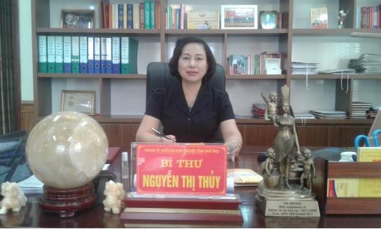 Bà Nguyễn Thị Thủy, Bí thư đảng ủy khối doanh nghiệp tỉnh Phú Thọ.