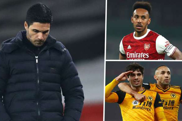 Arsenal gây thất vọng khi để thua Wolves.