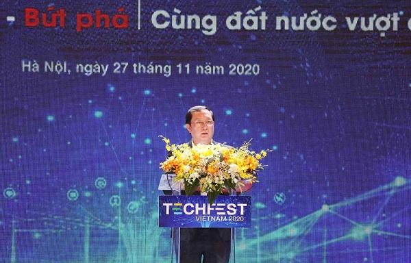 Bộ trưởng Bộ Khoa học và Công nghệ Huỳnh Thành Đạt phát biểu tại Techfest 2020.