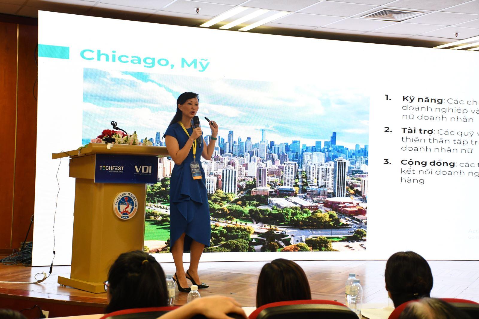 Bà Thái Vân Linh - CEO và Nhà Sáng lập TVL GROUP chia sẻ về kinh nghiệm quốc tế trong phát triển hệ sinh thái khởi nghiệp sáng tạo cho phụ nữ.