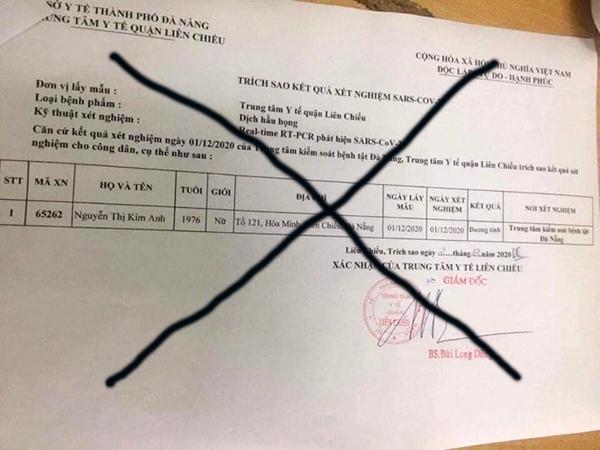 """Lãnh đạo Sở Y tế Đà Nẵng khẳng định thông tin trong phiếu """"Trích sao kết quả xét nghiệm SARS-CoV-2"""" này là hoàn toàn giả mạo!"""