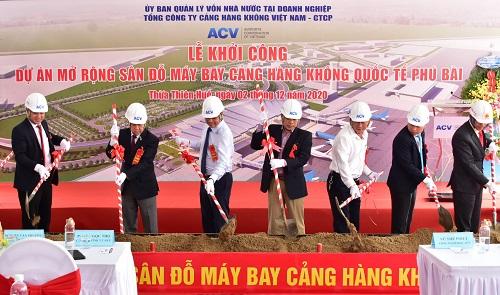 Khởi công Dự án mở rộng sân đỗ máy bay Cảng hàng không quốc tế Phú Bài
