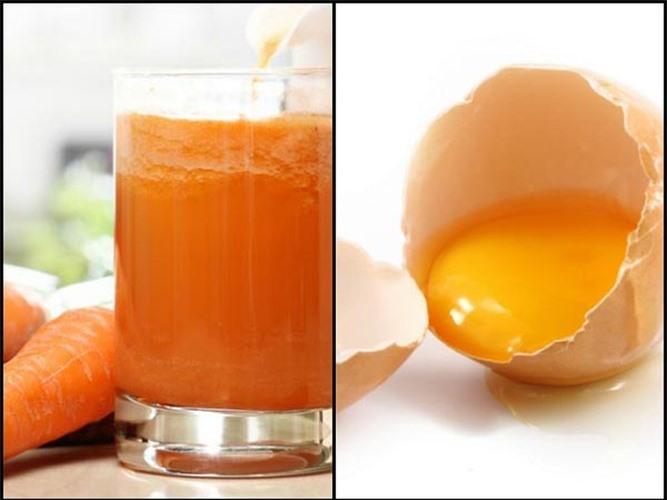 Giúp loại bỏ tế bào chết: Mặt nạ này sẽ tẩy tế bào da chết và giúp làm cho da sáng hơn. Thành phần: 1 muỗng canh nước ép cà rốt, 1 muỗng canh lòng trứng trắng, 1 muỗng canh sữa chua.