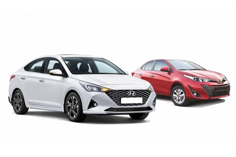 Hyundai Accent 2021 và Toyota Vios (phải).