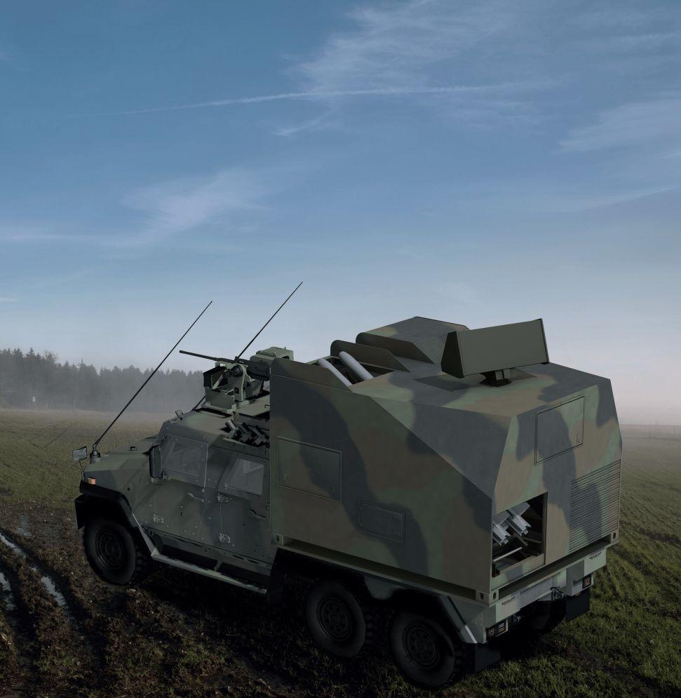 Đồ họa hệ thống phòng không di động tầm ngắn IRIS-T-SLS Mk III. Ảnh: Janes Defense.