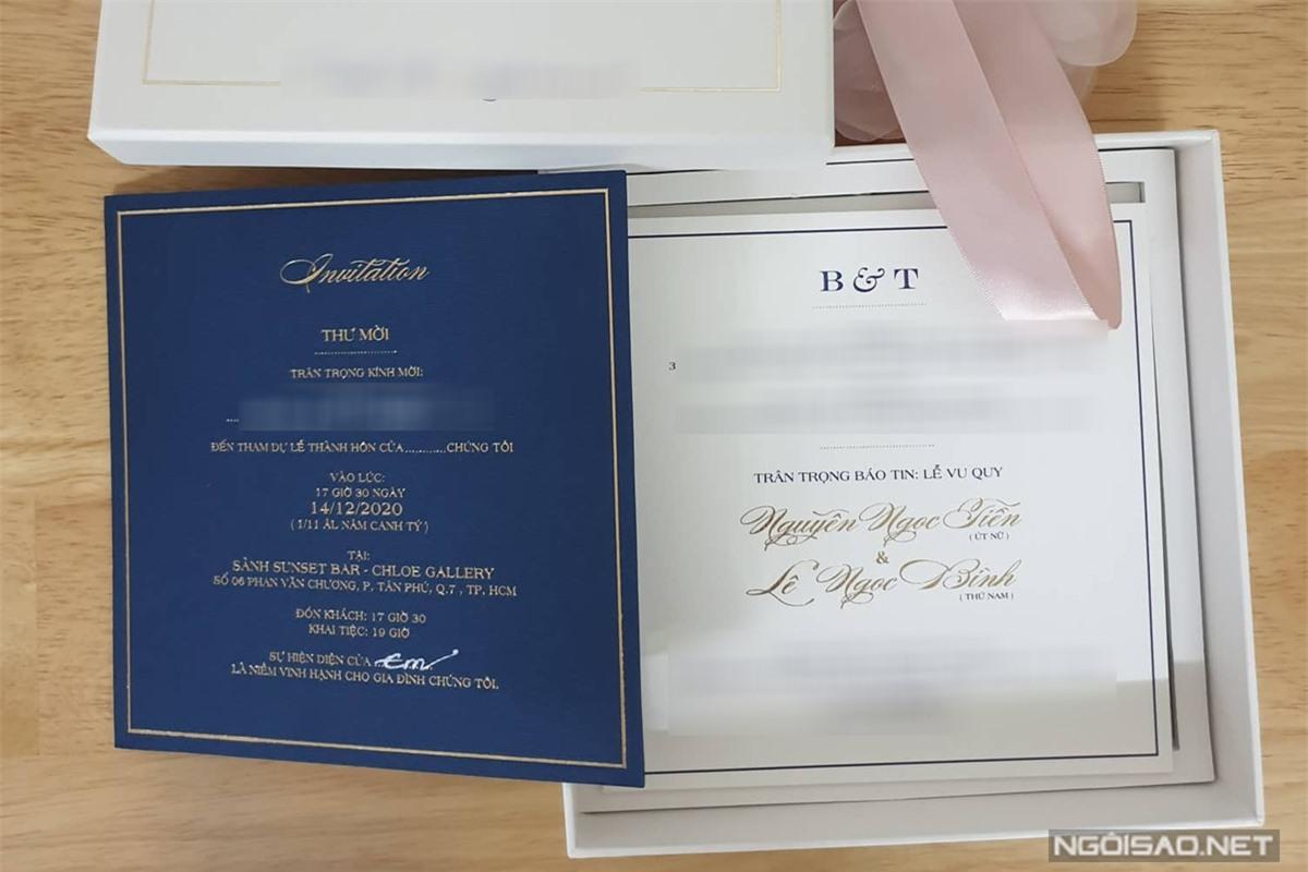 Thiệp cưới của Quý Bình và bạn gái doanh nhân.