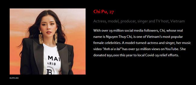 Chi Pu và phần giới thiệu cá nhân cô của Forbes.