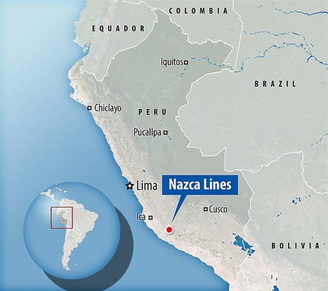 Địa điểm của đường kẻ Nazca trên bản đồ Peru.