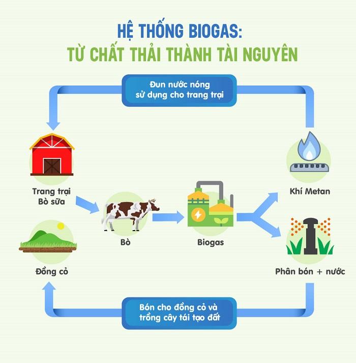 """Mô hình """"kinh tế tuần hoàn"""" ứng dụng trong hệ thống Biogas và vòng tròn quản lý nguồn đất bền vững tại các trang trại bò sữa Vinamilk."""