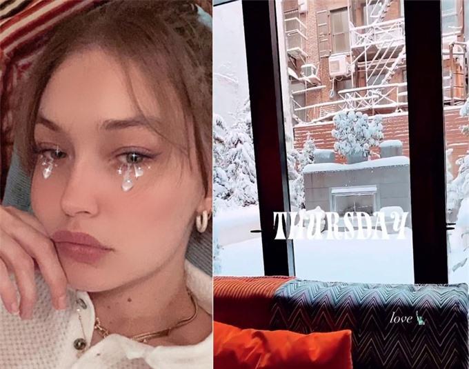 Gigi chia sẻ khung cảnh tuyết rơi ở New York hôm thứ 5.