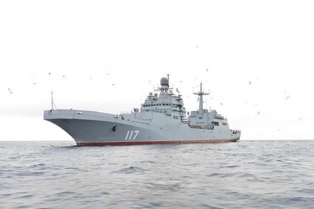 Tàu đổ bộ Pyotr Morgunov thuộc Dự án 11711 lớp Ivan Gren của Hải quân Nga. Ảnh: TASS.