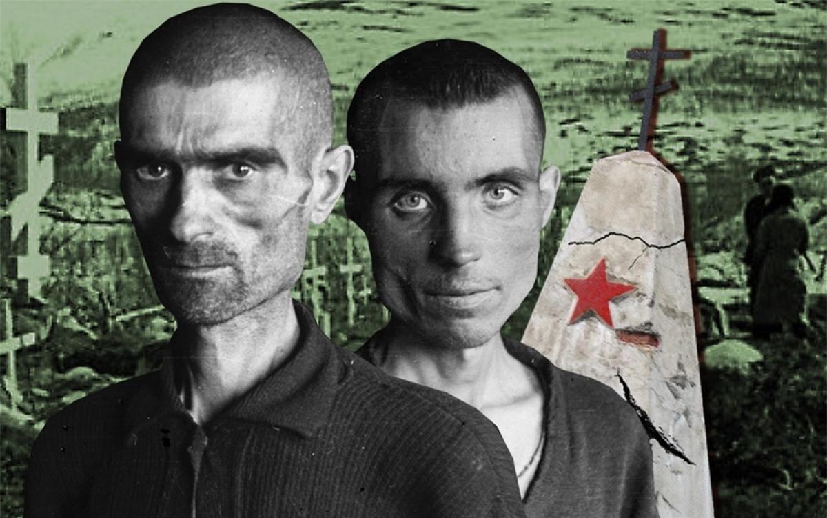 Hình ảnh các tù binh Liên Xô gầy ốm trước các bia mộ và đài tưởng niệm ở Na Uy. Ảnh và đồ họa: RBTH.