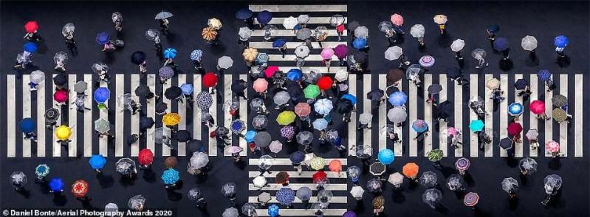 Bức ảnh những chiếc ô đủ màu sắc trên đường phố Tokyo của nhiếp ảnh gia người Đức Daniel Bonte./.