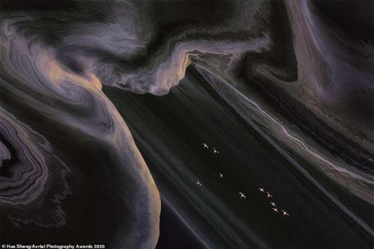 Bức ảnh ấn tượng ghi lại cảnh đàn hồng hạc bay qua hồ Natron ở Kenya của nhiếp ảnh gia Trung Quốc Hua Shang.