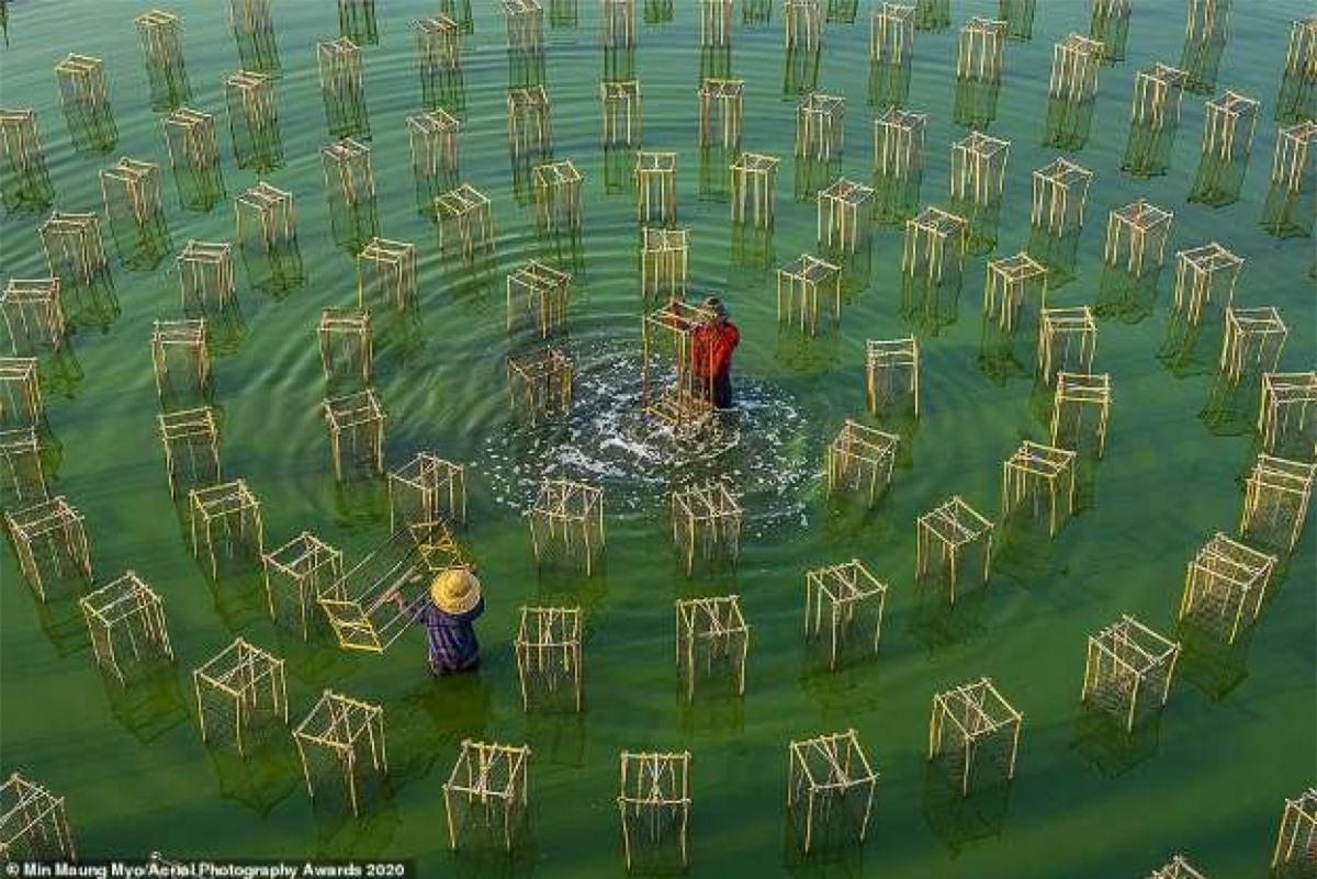 Khung cảnh 2 người đàn ông câu cá ở Myanmar của nhiếp ảnh gia Min Maung Myo.