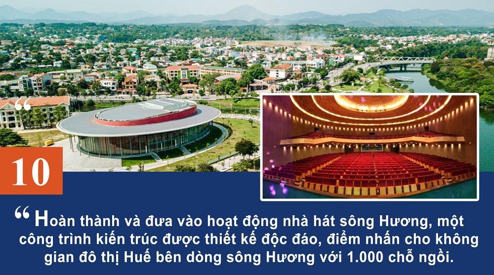 Hoàn thành và đưa vào hoạt động nhà hát sông Hương, một công trình kiến trúc được thiết kế độc đáo, điểm nhấn cho không gian đô thị Huế bên dòng sông Hương với 1.000 chỗ ngồi.