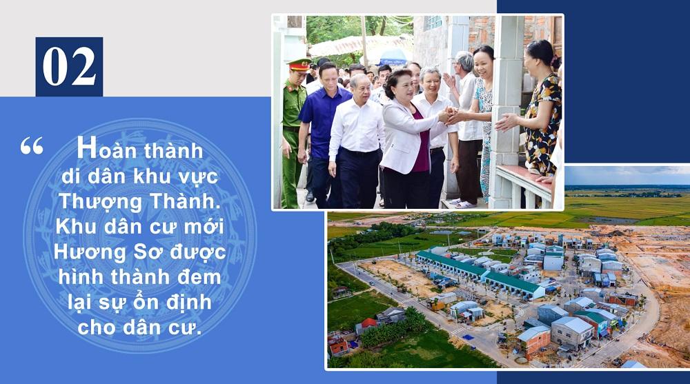 Hoàn thành di dân khu vực Thượng Thành. Khu dân cư mới Hương Sơ được hình thành đem lại sự ổn định cho dân cư.