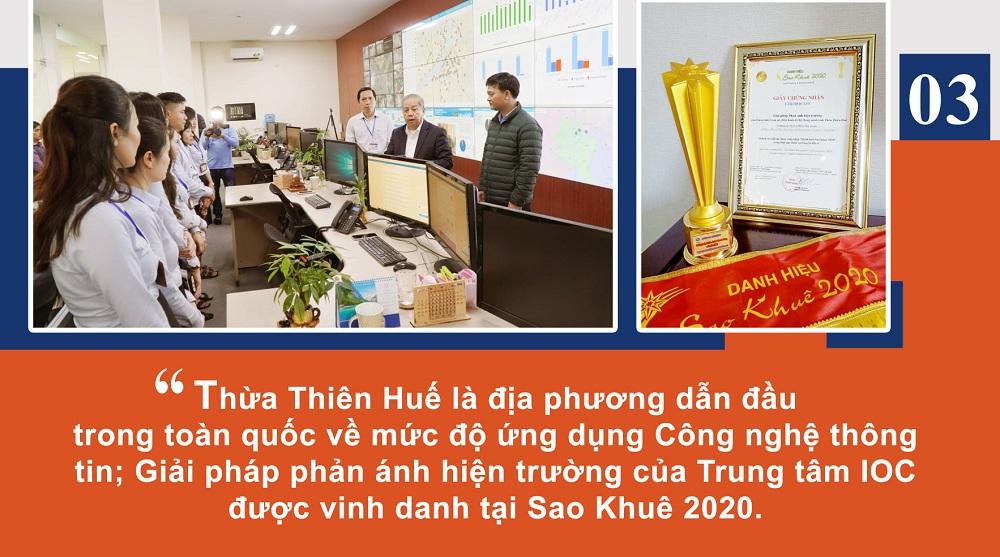 Thừa Thiên Huế là địa phương dẫn đầu trong toàn quốc về mức độ ứng dụng Công nghệ thông tin; Giải pháp phản ánh hiện trường của Trung tâm IOC được vinh danh tại Sao Khuê 2020.