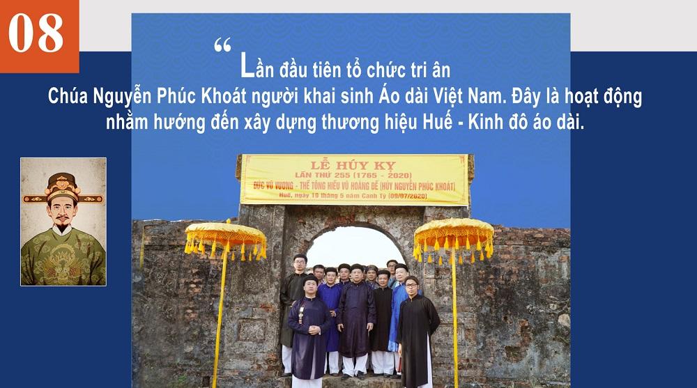 Lần đầu tiên tổ chức tri ân Chúa Nguyễn Phúc Khoát người khai sinh Áo dài Việt Nam. Đây là hoạt động nhằm hướng đến xây dựng thương hiệu Huế - Kinh đô áo dài.