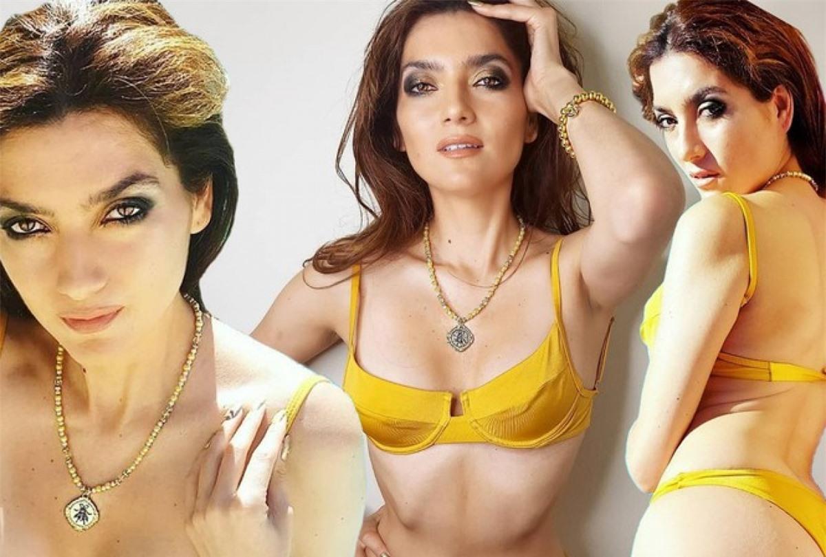 Mỹ nhân Hollywood Blanca Blanco trở thành tâm điểm của sự chú ý khi diện bộ bikini hai mảnh màu vàng rực rỡ.