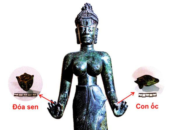 Hai pháp khí quan trọng Hoa sen và Con ốc của Bảo vật quốc gia Tượng Bồ tát Tara...