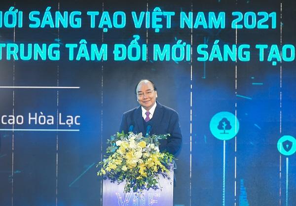 Thủ tướng Nguyễn Xuân Phúc Trung tâm Đổi mới sáng tạo quốc gia và khai mạc Triển lãm quốc tế đổi mới sáng tạo Việt Nam 2021