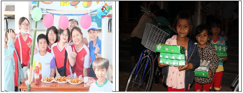 Những ánh mắt trẻ em tỉnh biên giới sáng hẳn lên khi có dịp tham gia lễ hội ẩm thực đầy hấp dẫn (hình trái) hoặc nhận những quà Tết đầy yêu thương (hình phải).