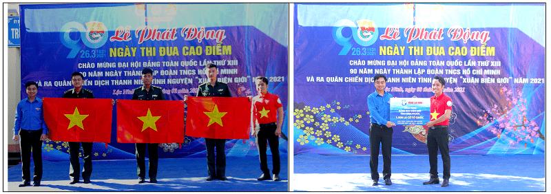 Tuổi trẻ Bình Phước vinh dự đón nhận 1.500 lá cờ Tổ quốc cùng thông điệp sâu sắc về lòng yêu nước từ anh Nguyễn Trần Minh Trí, Phó Bí thư Đoàn Thanh niên Báo Người Lao Động (áo cờ đỏ sao vàng).