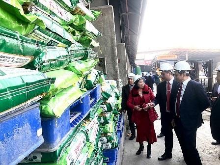 Đoàn đại biểu tham quan sản phẩm phân bón thế hệ mới của Supe Lâm Thao