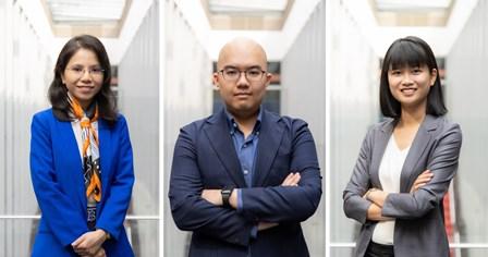 Hình 1: Thành viên nhóm nghiên cứu đến từ Đại học RMIT tại Việt Nam: (từ trái qua phải) Tiến sĩ Hoàng Ái Phương, Tiến sĩ Đặng Phạm Thiên Duy và Võ Thị Diễm Trang.