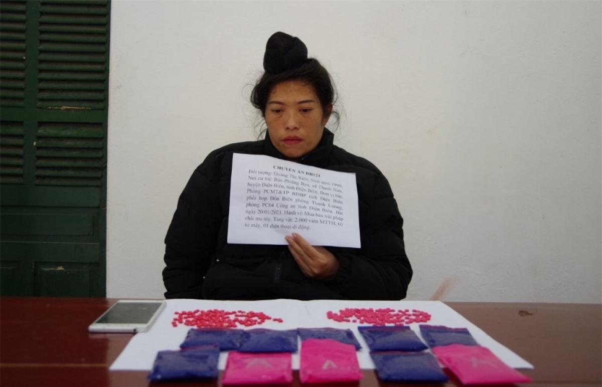Quàng Thị Xiên cùng tang vật bị bắt giữ tại cơ quan chức năng.