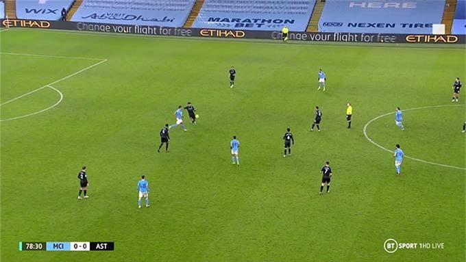 Rodri áp sát từ phía dưới hàng thủ Aston Villa