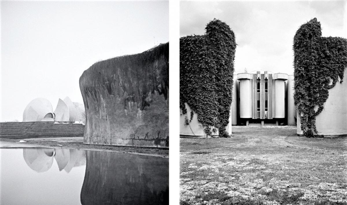 Đài hóa thân chưa hoàn thành ở Kiev, Ukraine (trái). Bệnh viện ở Druskininkai, Lithuania (phải).
