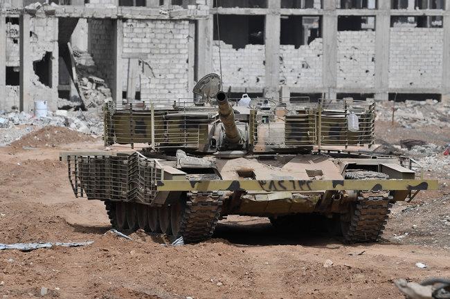 Xe tăng chiến đấu chủ lực T-72M1 Adra của Quân đội chính phủ Syria. Ảnh: Topwar.