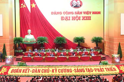 Đại hội đại biểu toàn quốc lần thứ XIII của Đảng đang diễn ra tại Trung tâm Hội nghị Quốc gia, Mỹ Đình, Hà Nội. Ảnh: VOV.