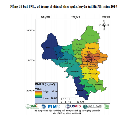 Hà Nội có nồng độ ô nhiễm bụi mịn cao nhất cả nước