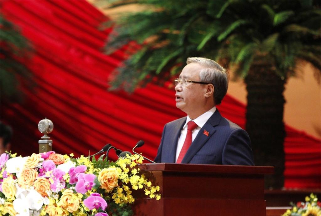 Đồng chí Trần Quốc Vượng, Ủy viên Bộ Chính trị, Thường trực Ban Bí thư thay mặt Đoàn Chủ tịch tuyên bố lý do, giới thiệu đại biểu và khách mời của Đại hội