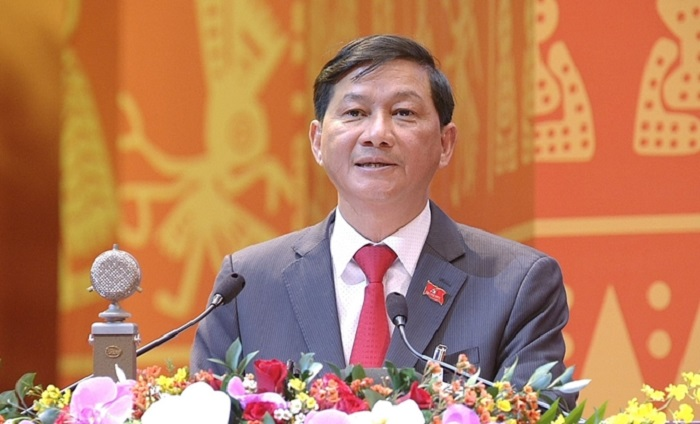 Bí thư Tỉnh ủy, Chủ tịch HĐND tỉnh Lâm Đồng Trần Đức Quận trình bày tham luận tại Đại hội.